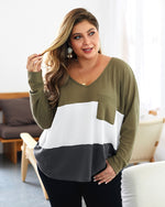Plus Size Women's Contrast Pocket Knit Sweater Top