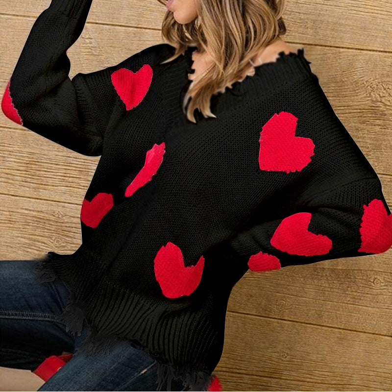 2021 New Valentine's Day Sweater  Loose Love Stitching
