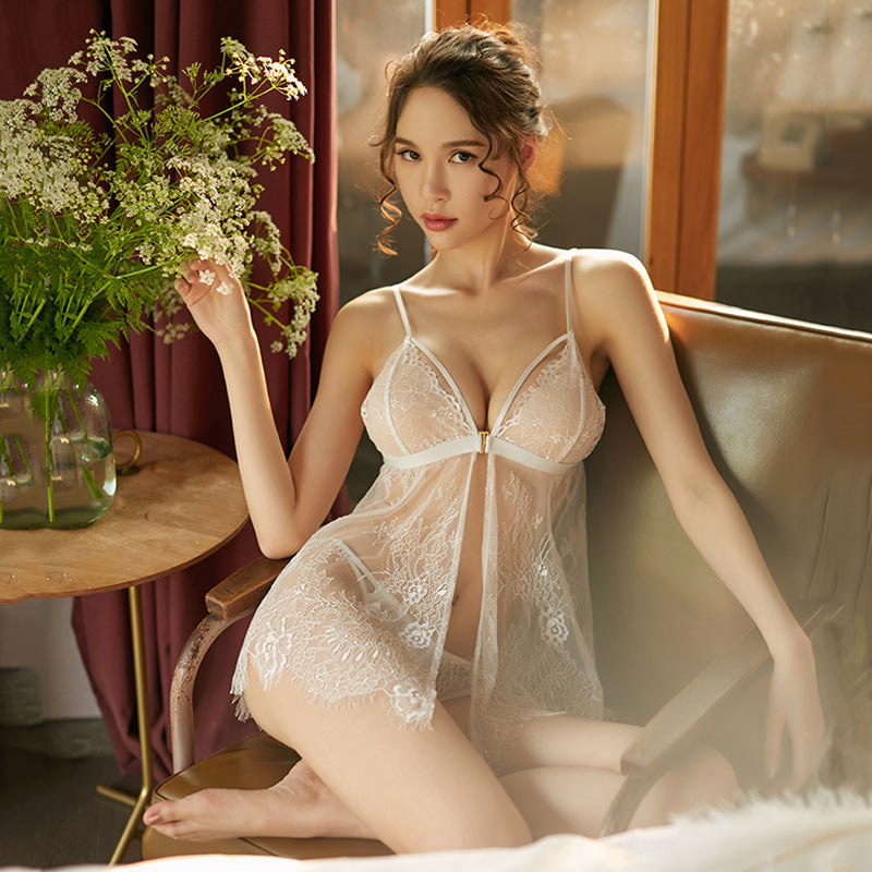 2021 Valentine's Day Sexy Cardigan Pajamas Sexy Underwear Lace Hollow Mesh