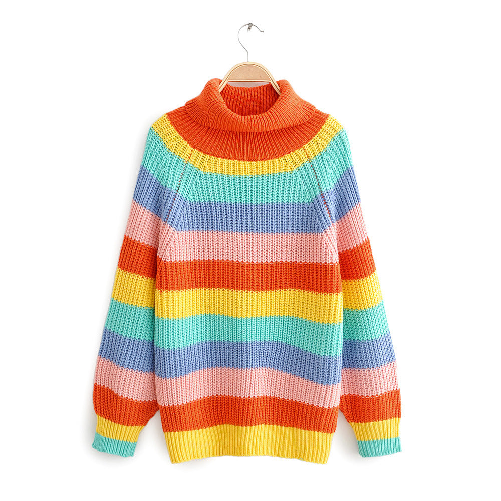 Explosions Rainbow Striped Sweater Europe and America Loose Large Size Sweater