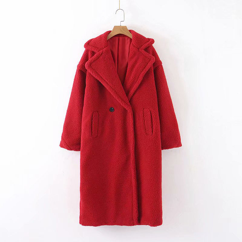 Euramerican New Two Button Thick Faux Fur Coat