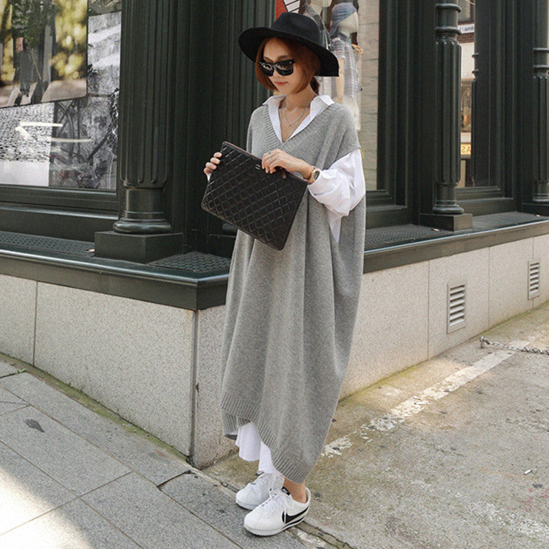 Long Vest Jacket Loose-Fitting Large Knit Sweater Dress