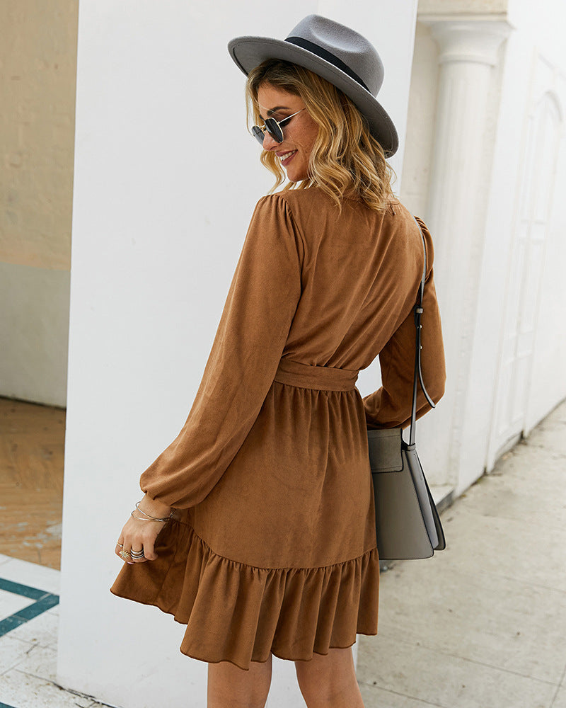 Buttoned Bow Tie Long Sleeve Dress