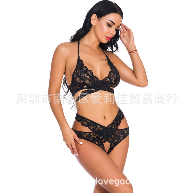 2021 Valentine's Day New Lace Openwork Sexy Underwear Set