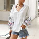 Spring and Summer Long-Sleeved Embroidery Sexy Long-Sleeved Top