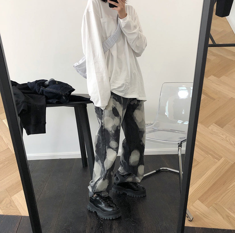 Fashion High Waist Splash Ink Tie-dyed Jeans Loose Wild Slim Straight Wide Leg Pants