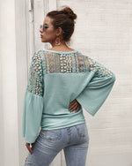 Women's New Hollow Lace Stitching Long-Sleeved Sweater