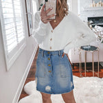 New Street Ripped Button Denim Skirt