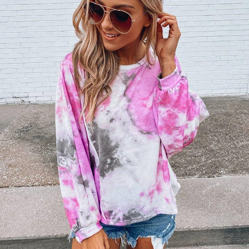 Pink Tie-Dye Long-Sleeved Top
