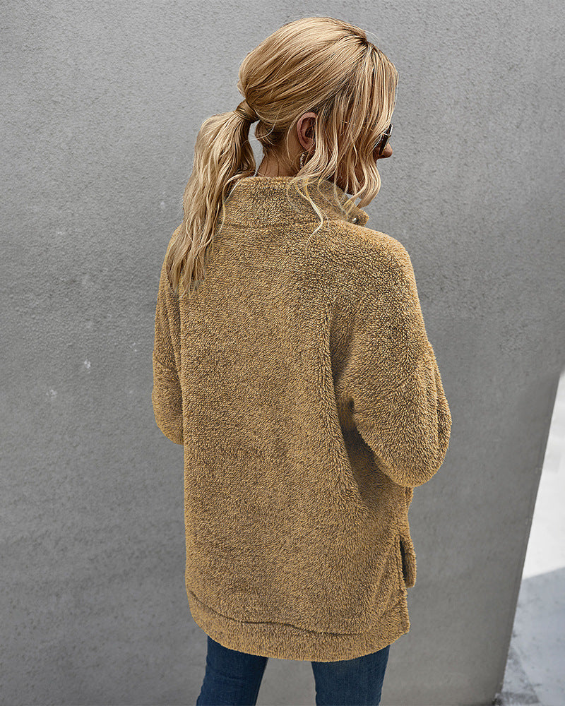 Wool Thick Fleece Sweater Fashion Stand-Up Collar Pullover Plush Top