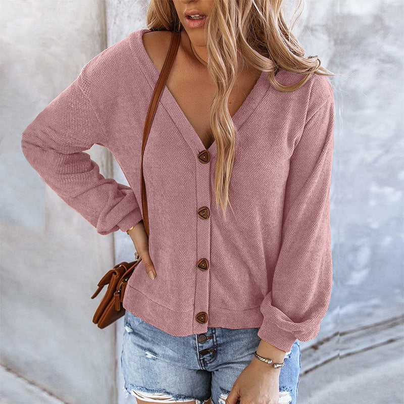 Simple Button Cardigan Long Sleeve Top