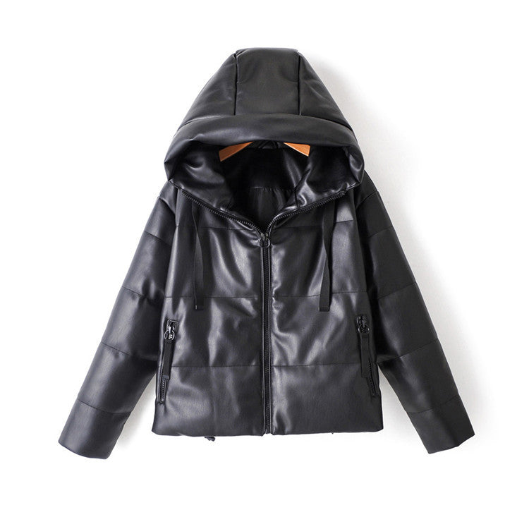 New Casual Simple Solid Color Versatile Hooded Cotton Padded Jacket