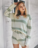 2021 Fashion Knitted Striped Suit Women Top