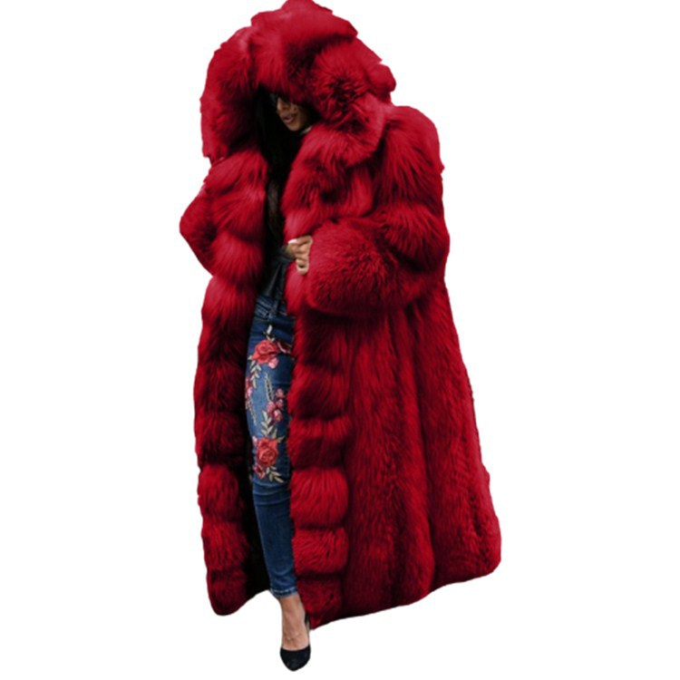 Winter Faux Fur Loose Fashion Warm Thick Hooded Coat
