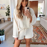 Home Casual White Sweater Top Suit