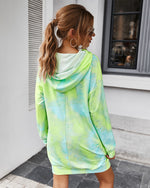 Tie-dye Hooded Dress Long Sweater Top