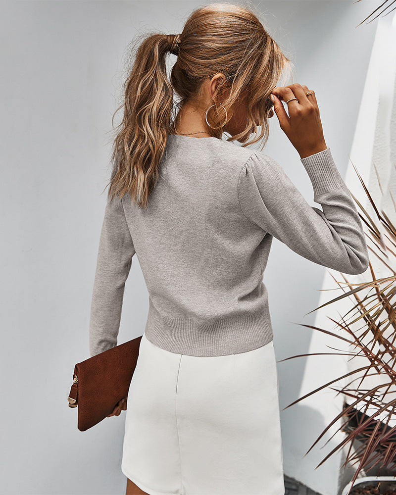 Solid Color Pleated Sweater Top