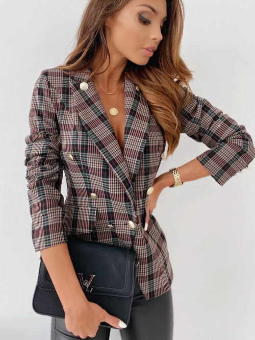 2021 Spring Suit Jacket Metal Buckle Double-row Button Blazer