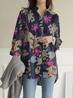 Long Sleeve Bulky Cotton / Linen Print Top
