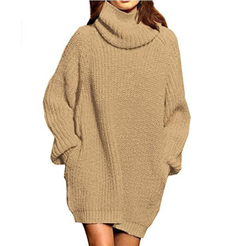 New Fashion Long Sleeve High Neck Pocket Mid Length Dress Sweater