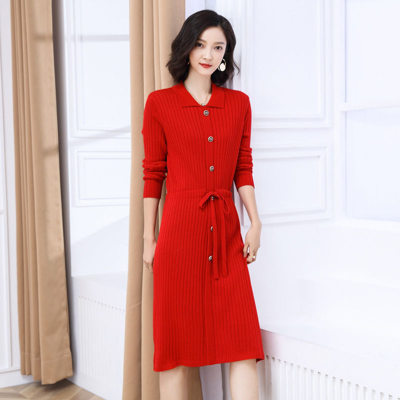 Elegant Temperament Show Thin Elastic Sweater Knitted Dress Girl