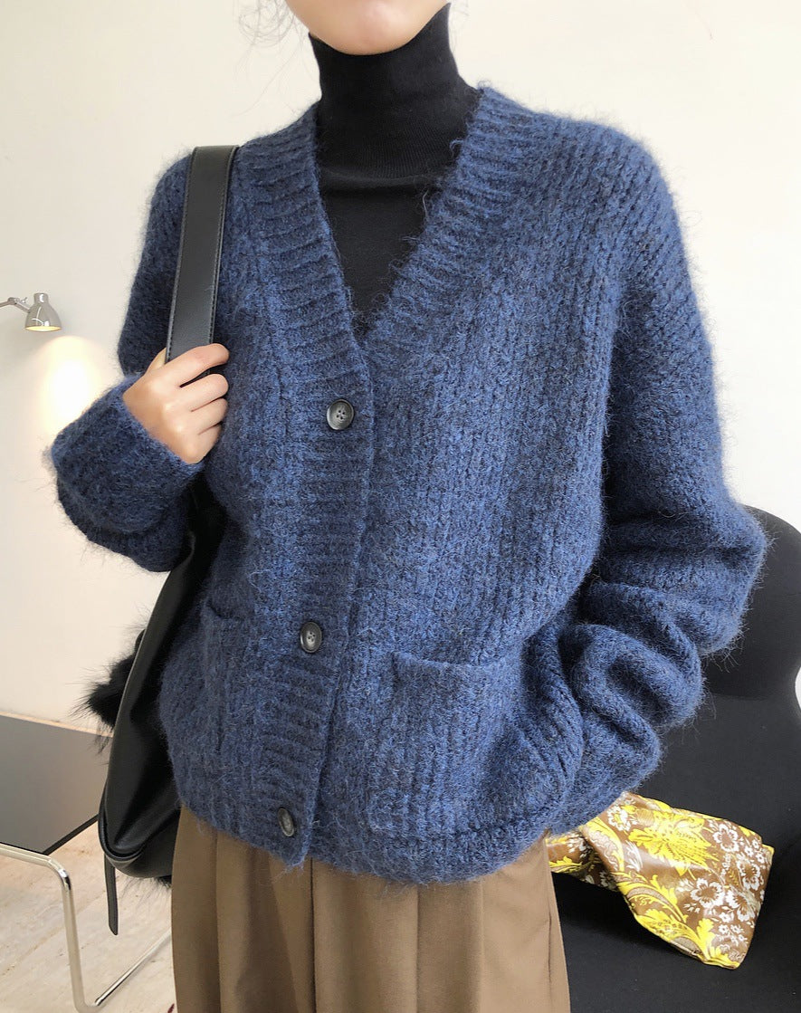 Fashionable Lazy Wool V-neck Sweater Cardigan Loose Thin Thick Warm Coat Woman
