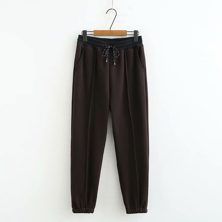 High Waist Elastic Plus Velvet Padded Pants Plus Large Size Casual Mom Pants