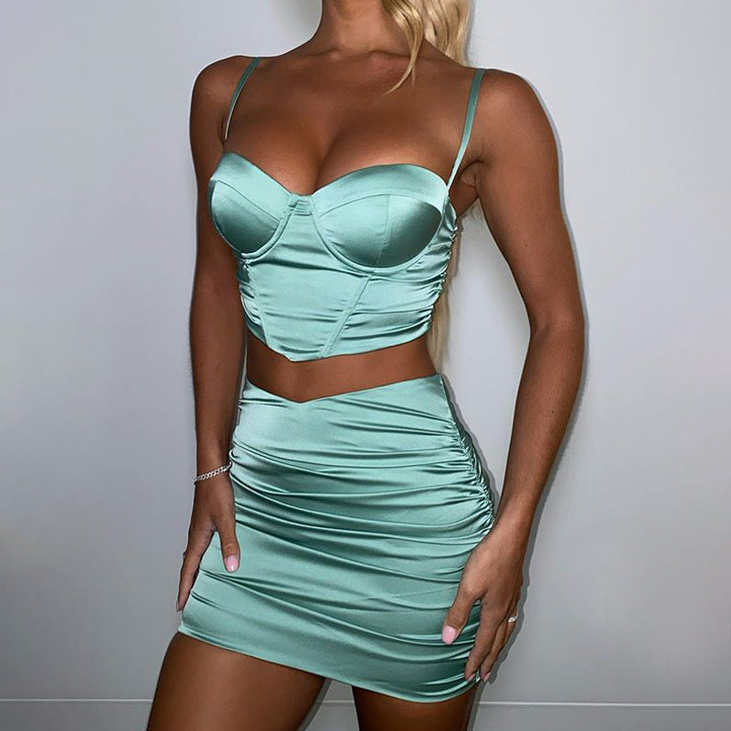 Two-piece 2021 Sexy Satin Fishbone Suit Dress Female