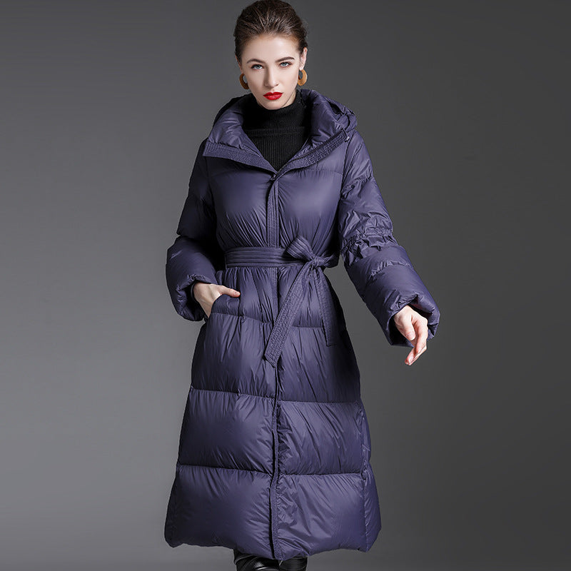 SHOPHOT Hooded White Duck Down Jacket Fashion High-end Thickening