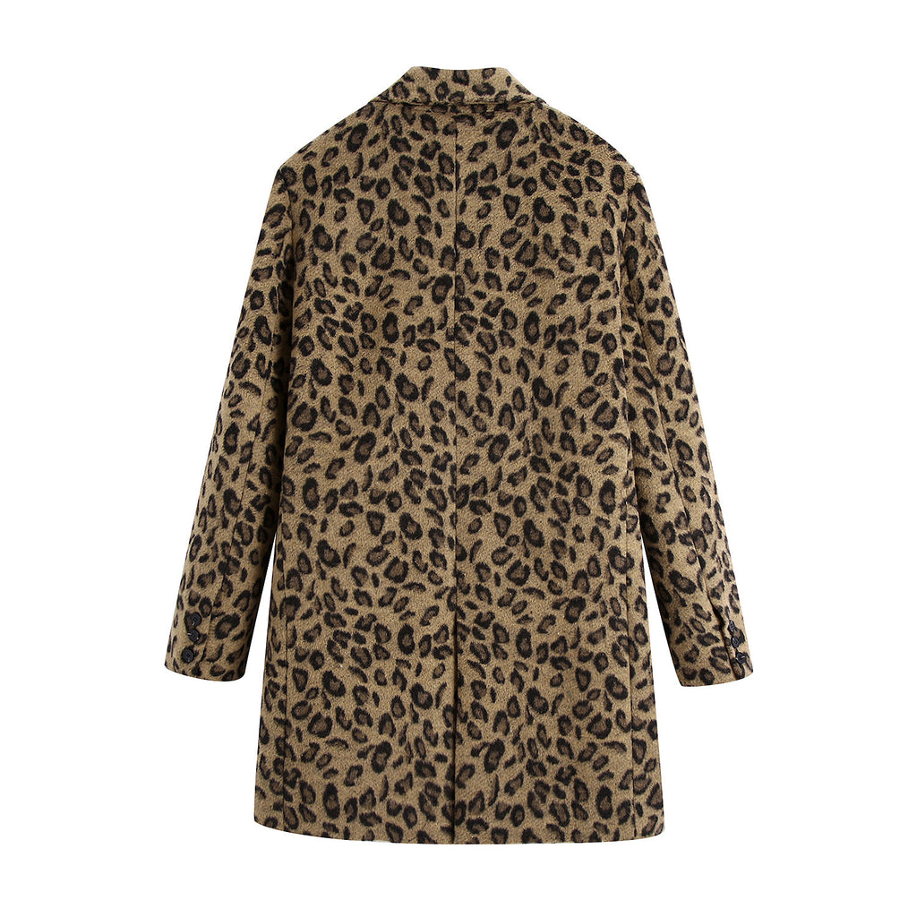 New Animal Print Coat for Leisure Commuting