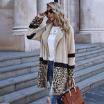 New Open Stitch Flocking Plush Leopard Patchwork Jacket Coat Female Casual