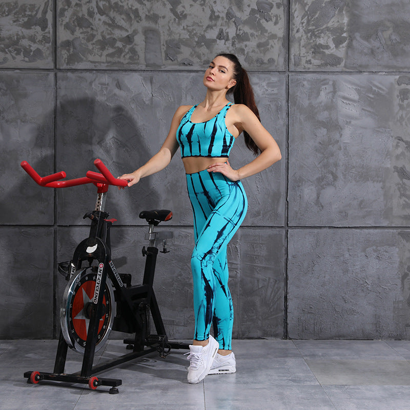 New yoga suits women's seamless tie-dye sweat-absorbing and quick-drying sportswear women