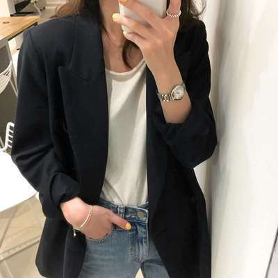 2021 Spring Blazer Casual Black Loose-fitting