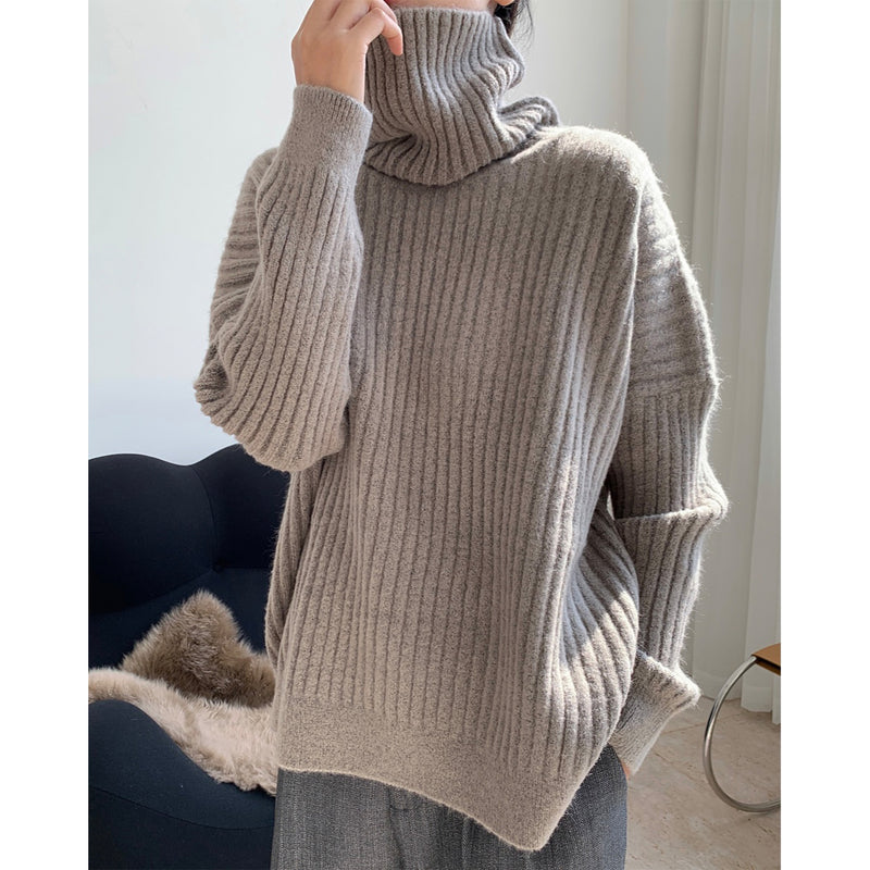 Simple Lazy Turtle Neck Thick Loose Warm Top Women