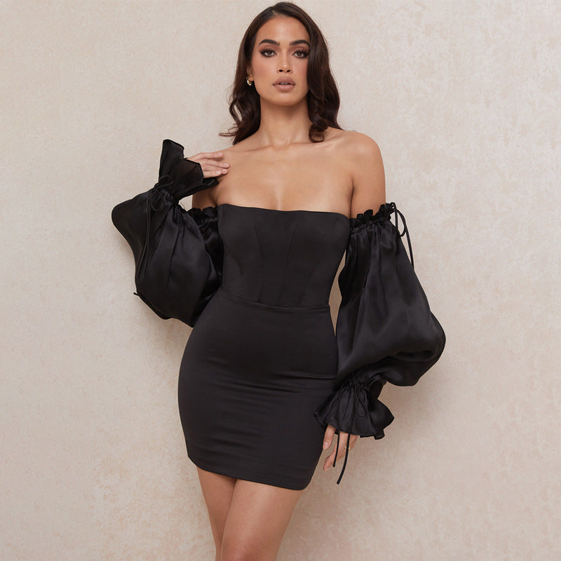 2021 New Off-the-shoulder Lantern Sleeve-smudged Chest Dress