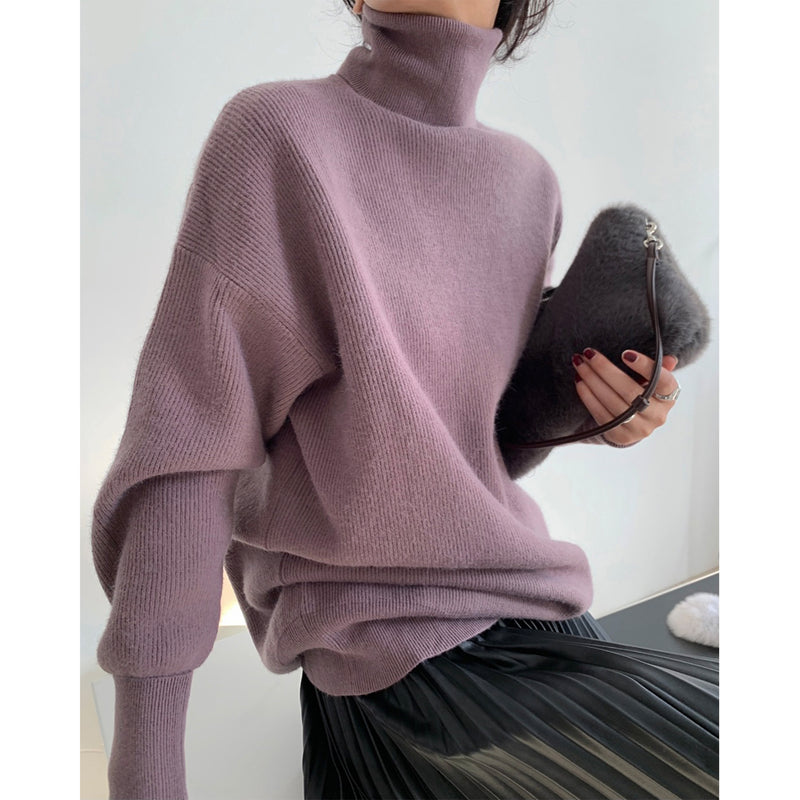 Temperament Silhouette High Neck Pullover Sweater Thick Knitted Top Women
