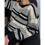 Casual Lazy Color-Collage Head Sweater Loose Thick Top