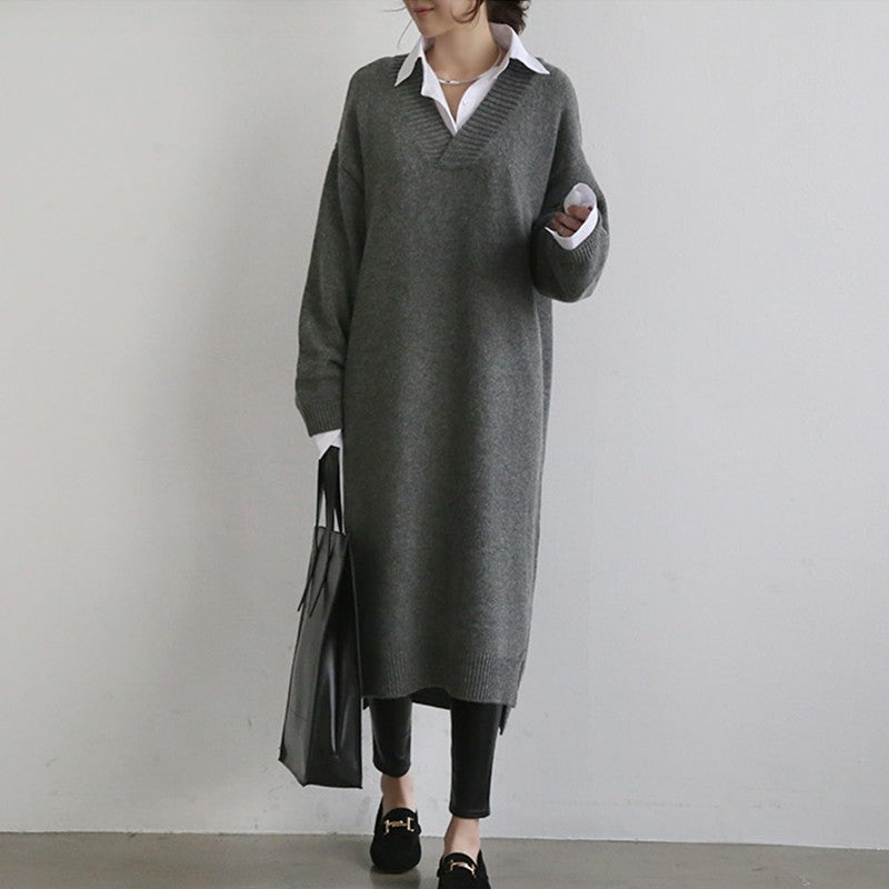 Sweater Skirt V-neck Knitted Pullover Bottoming Shirt  Loose  Dress