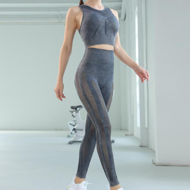 Seamless sports autumn/winter net hole hollow fitness suit female knitted quick dry yoga set