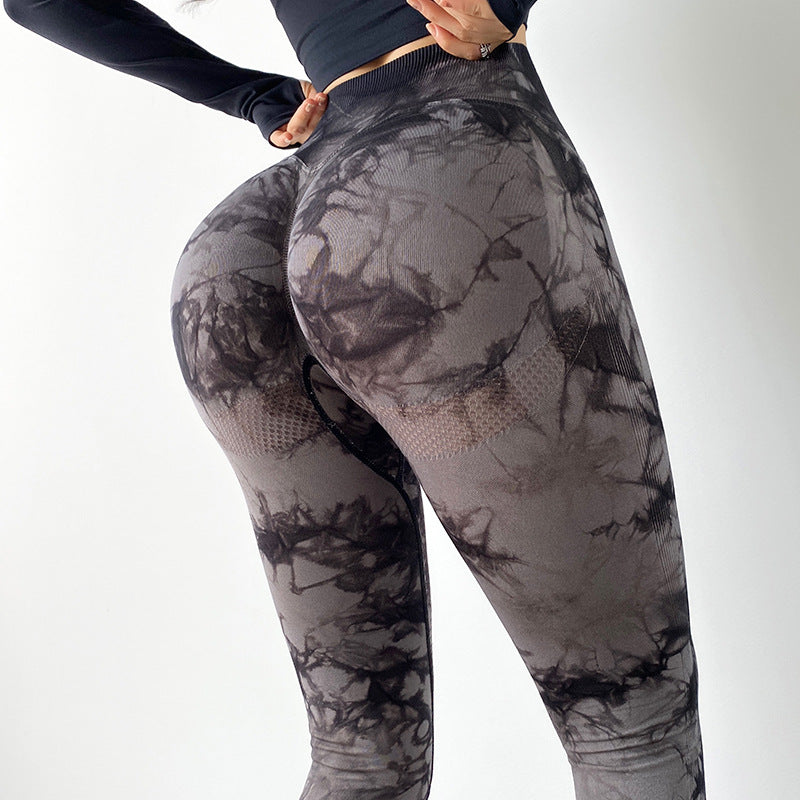 Tie Dyed Fitness Pants Women's Sports Tights