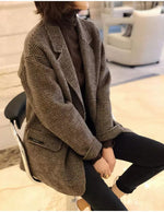Pure Handmade Wool Loose Wild Double-Breasted Check Cashmere Coat