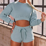 Autumn/Winter Leisure Fashion Long Sleeve Shorts Sports Yoga Suit Women