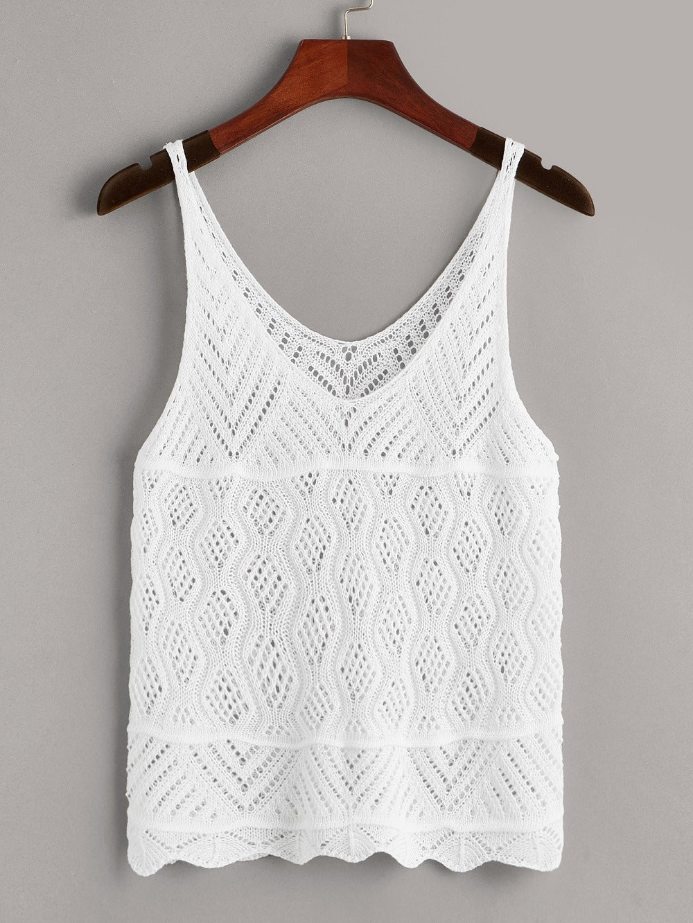 Women's Crochet Tank Top. Loose Knitted Crop Vest Top for Lady