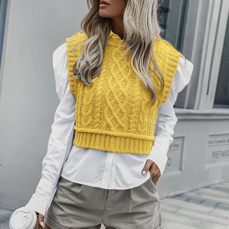 Knitted Vest Pullover Casual Sleeveless Sweater