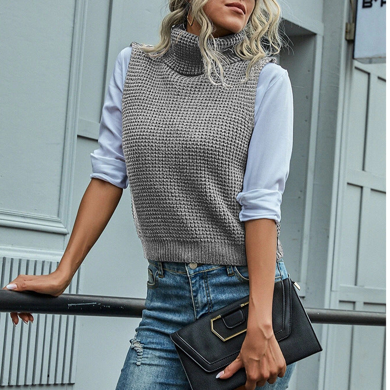 Vest Knit Pullover Sleeveless Slim Turtle Neck Female