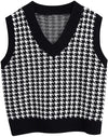 Vest V-neck Pullover Contrast Sleeveless Knit Sweater Women