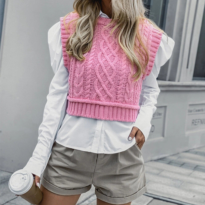 Knitted Vest Pullover Casual Sleeveless Sweater Top