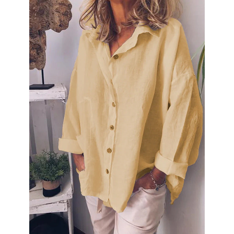 2021 spring new loose long sleeve cardigan Lapel shirt