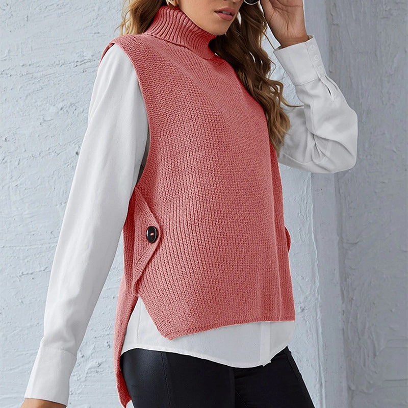 Vest Solid Color Knitted Turtleneck Pullover Sleeveless Sweater