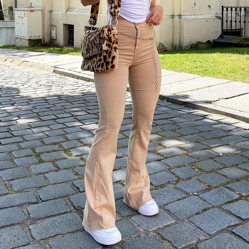 Pants British Style Retro Brown High Waist Elastic Micro Stretch Jeans Casual Pants